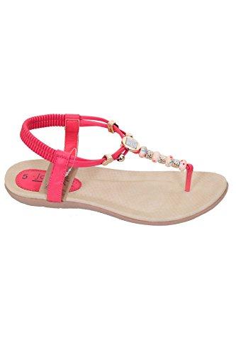 Fantasia Boutique femmes perléàélastique lanière rembourré entre-doigt String Sandales plates chaussures Rose