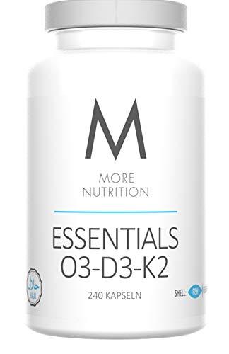 More Nutrition Essentials O3-D3-K2. Vitamin D3, K2 Und Omega 3 Fettsäuren. Fischöl Mit EPA & DHA Ohne Zusätze. 1 x 240 Kapseln. (Kapselhülle aus Fischgelatine)