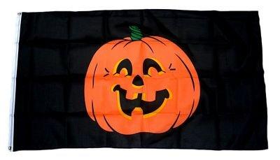 Fahne / Flagge Happy Halloween Kürbis black 90 x 150 cm Fahnen Flaggen