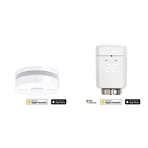 Eve Smoke - Smarter Rauch- & Hitze Dualwarnmelder, 10 J. Batterie & Thermo (Vorgängermodell) - Smartes Heizkörperthermostat mit LED-Display, automatische Temperatursteuerung, Bluetooth