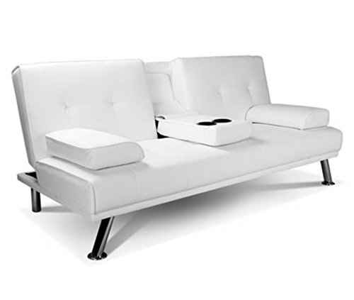 Cheap Faux Leather Sofa: White Faux Leather Sofa Bed Double Click Clack Settee 2