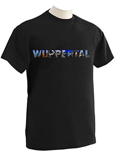 T-Shirt mit Städtenamen Wuppertal Schwarz