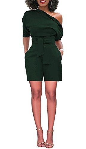 KISSMODA Frauen Einfarbig Retro Playsuits Front Krawatte One Off Schultern mit Taschen Green Large