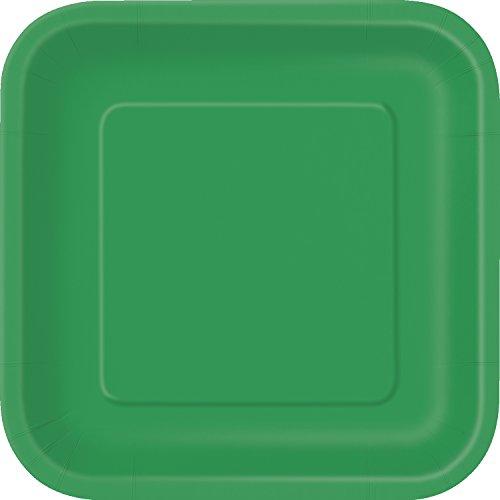 Unique Party- Paquete de 14 platos cuadrados de papel, Color verde esmeralda, 23 cm (31871)