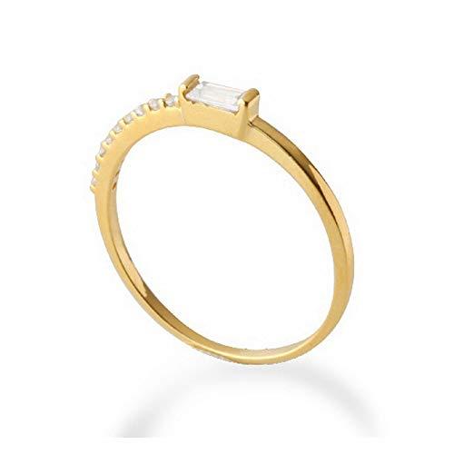 Solide 18 Karat Gelbgold 100% CT Zertifikat H/SI Echte Prinzessin Natürliche Diamant Engagement Frauen Edlen Schmuck Geschenk Ring,5.25