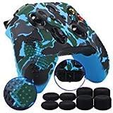 9CDeer 1 Morceau de Transfert Personnalisée Silicone Couverture Peau Manche Cas Skin Cover Case +8 Thumb Grips Manette Xbox One/S/X Camouflage bleu Compatible avec Adaptateur de Casque Stéréo Officiel