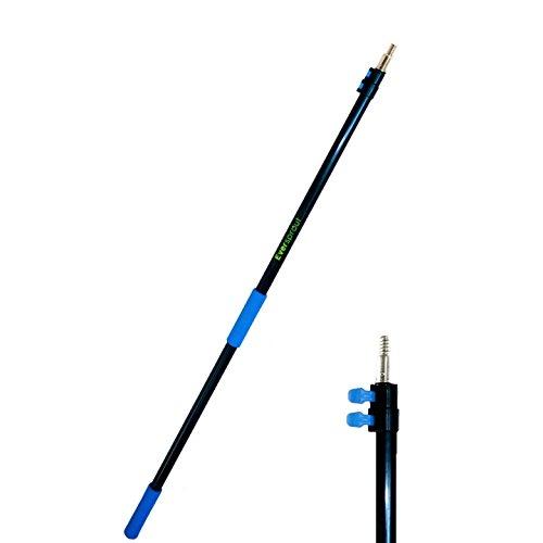 """EVERSPROUT 2m-5,5m Extension télescopique (portée 7,6m)   Aluminium léger, antirouille (portée 20 pieds)   Pointe filetée ACME 3/4"""" raclette, chiffon et rouleau à peinture Twist-On (manche seulement)"""