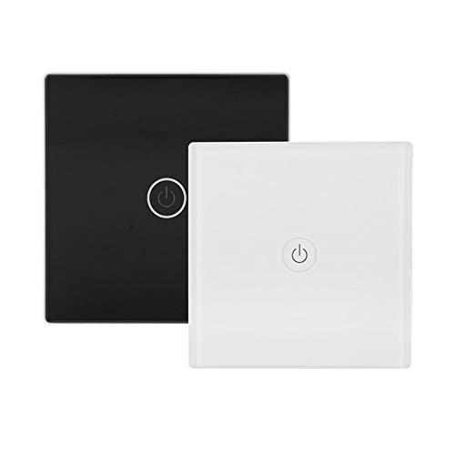 Wireless Smart Lichtschalter, Smart WiFi RF APP Touch Control Wall Light Switch 12V 1 Weg Schalter Panel LED Licht Wandschalter Smart Home(Black) -
