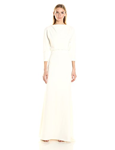 badgley-mischka-donna-abito-it-tratto-crepe-blouson-camice-avorio-8