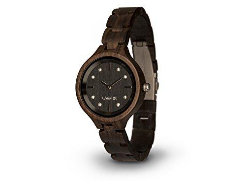 LAiMER orologio da polso in legno | 100% legno sandalo e cristalli SWAROVSKI | 100% prodotto naturale, ipoallergenico, ecosostenibile | Alto Adige | leggero come una piuma