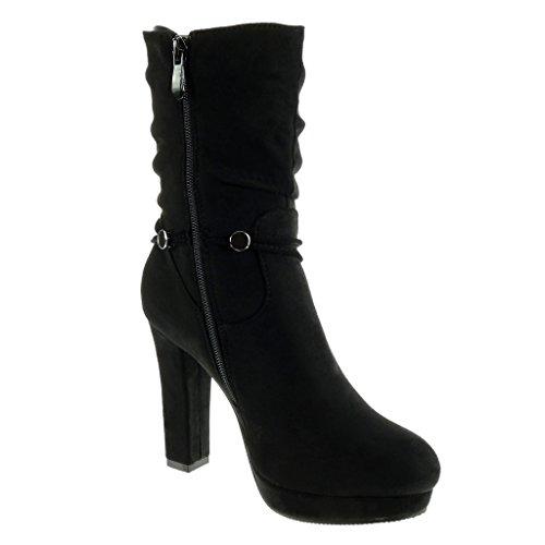 Angkorly - Scarpe Da Donna Stivaletti - Platform Shoes - Sexy - Perizoma - Gioielleria - Metallico Tacco Alto Tacco 10,5 Cm Nero