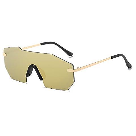 CVOO Vintage Mirrored Rimless Sunglasses Polygon Metal Gold Fashion Big One Piece Lens Sunglasses Men (Hip Hop Mode Sonnenbrillen)