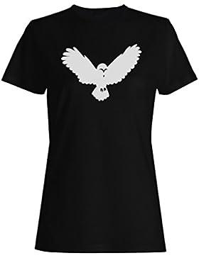 Búho 01 camiseta de las mujeres n637f