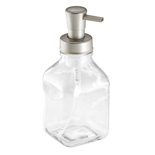 InterDesign Cora Dispensador de espuma de jabón, dosificador de jabón líquido grande de vidrio, transparente y plateado mate