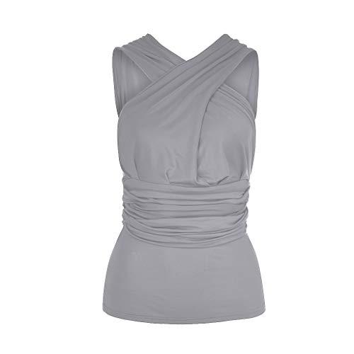 KUDICO Damen Oberteile T-Shirt Elegant Ärmellos Einfarbig Weste Kreuzverband Schulterfrei Bodycon Crop Top Sommer Beiläufig Bluse (Grau, 5XL)