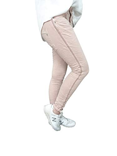 Jewelly by Lexxury Baggy Boyfriend Damen Stretch Hose Galon Streifen Nieten (L-40, Rose)