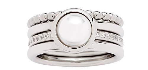 JEWELS BY LEONARDO Damen-Ring Perla, Edelstahl mit Imitationsperle und Schliffkristallen, Größe 18, 016869