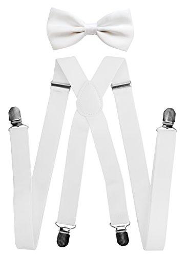 Axy bretelle per pantaloni da uomo con farfallino 4fermagli robusti bretelle forma di X bianco Weiss