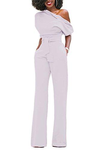 KISSMODA Frauen Sexy One-Shoulder-feste Overalls Breites Bein Lange Strampler Hose mit Gürtel Weiß