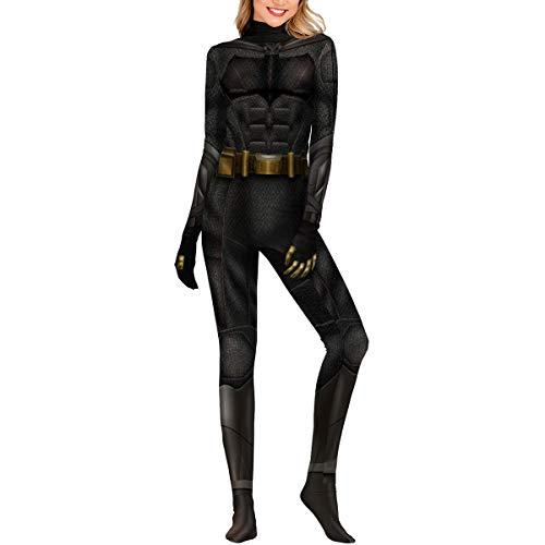 QQWE Batman Justice League Cosplay Kostüm Frauen Männer DC Hero Kostüm Kleidung Weihnachten Halloween Show Superheld Body Overalls,Black-XS