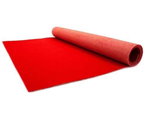VIP Event-Teppich-Läufer, Hochzeitsläufer PODIUM - Rot, 1,00m x 10,00m, Hochzeitsteppich, Empfangsteppich, Eventteppich, Teppichboden für Messe & Event (10x10 Teppiche)