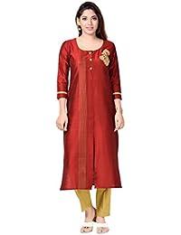 Studio Shringaar Maroon Cotton Silk Embroidered Kurti