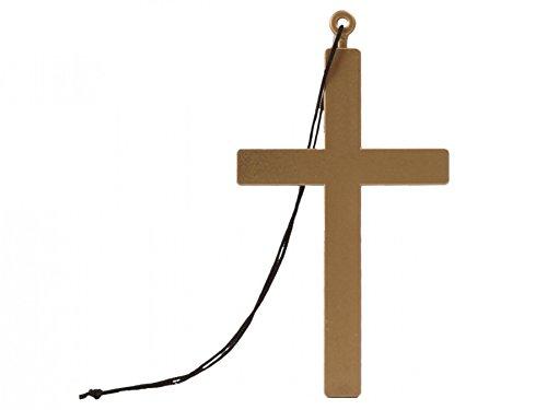 hof 00535 Nonne Halskette mit Kordel Karneval Kreuzkette Kreuz Anhänger (Priester Und Nonne Kostüme)