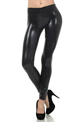 Liquid111 Sakkas Footless Liquid Wet Look Shiny Metallic Stretch Leggings - Black / Large