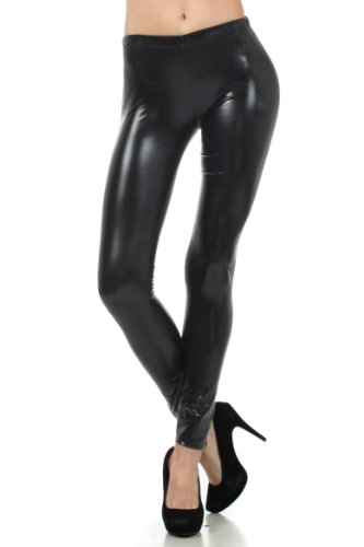 Sakkas Liquid111 Footless Flüssigkeit Wet Look Shiny Metallic Stretch Leggings - Schwarz/Medium -