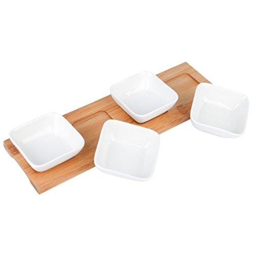 vancasso 4 Servierschalen aus Porzellan mit Einem Tablett aus Bambus, 5-teiilig Set, Dessert Snack Dips Schälchen