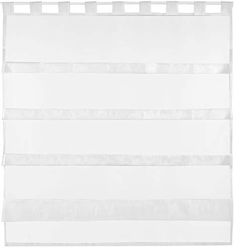 Bestlivings tenda a pacchetto in voile, semplice e moderna, colore: trasparente, tessuto, weiß - reinweiß, 100 x 110 cm