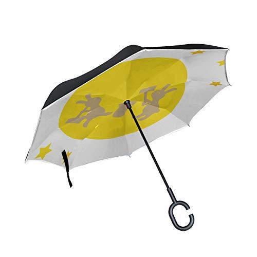 Rabbit Sleep Moon Night Double Layer Faltbarer UV Schutz Winddicht Regen Gerade Autos Golf Reverse Inverted Umbrella Stand Mit C förmigem Griff (Kuchen Stand Double)