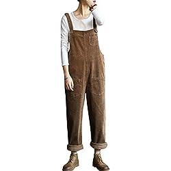 Bigassets Femmes Coton Combinaisons en Velours côtelé Combishort Pantalon Salopette avec Poches Khaki
