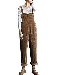 Bigassets Damen Baumwolle Cord Jumpsuits Spielanzug Hose Latzhose mit Taschen