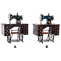 Hogar y Mas Máquina de Coser Decorativa Vintage Estilo Tradicional Metal - A