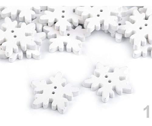 50stück 1 Weiß Schneeflocken Aus Holz Ø25mm Knöpfe, Dekorative -, Und Verschlüsse, Kurzwaren