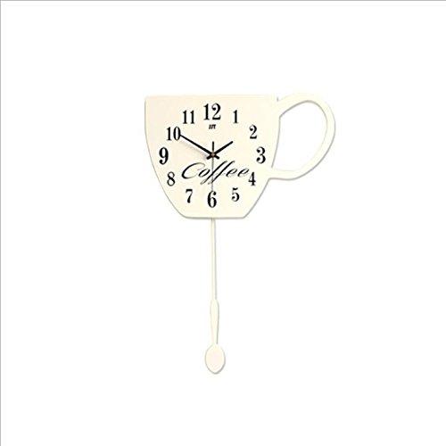 ... YingQinClan Easy Read Wanduhr Holzschaukel Kaffeetasse, 60X40cm, Weiß  Stille Nicht Tickende Bunte Dekorative Arabische ...