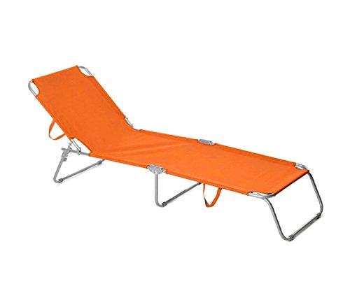 Mediawave store 2309 lettino prendisole pieghevole con schienale regolabile di colore arancione