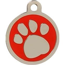 Personnalisé Médaille pour Animal domestique en forme de Patte Rouge (Moyen) | SERVICE DE GRAVURE | Médaille pour Chien et Chat Personnalisée avec Design Coloré