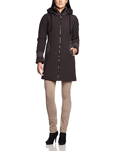 khujo Damen Winter Mantel Jacke Retro Jerry Wintermantel Winterjacke Parka Schwarz S-XXL (S / 36)
