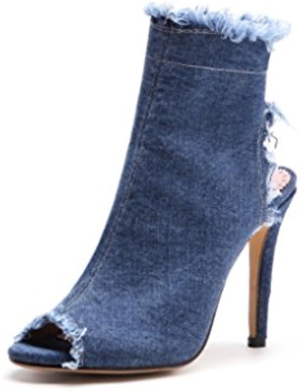 LGLFRXZ HJHY® Chaussures de Bouche de Poisson Poisson Poisson Femme  s de Cowboy à Talons Hauts Bleues  s Romaines...B07BPKKXKYParent a06283