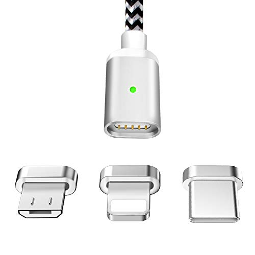 LAMA Magnet Ladekabel Magnetisches USB Datenkabel 1,5M 2,1A High Speed Sync und Schnellladekabel mit Blitz Typ C Micro USB Adapter für Android Windows Phone Samsung Huawei HTC Sony Nexus Nokia Kindle (Phone Htc Windows)