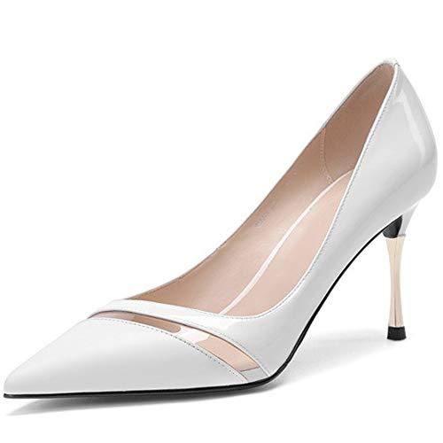 ZPFME Damen Damen High Heel spitz Zehe Slip on Work Hochzeit Stiletto Gericht Schuhe High Heels,White-EU38/240 T-strap Dorsay Pump