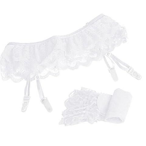 omiky® Sexy en Dentelle Bas porte-jarretelles avec bas et jarretelles, Sheer Collants cuisse Bas Haute Chaussettes montantes Motif arbitre pour femmes, blanc,