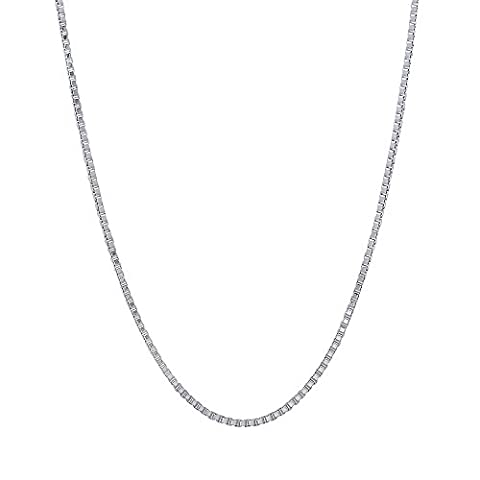 0.9mm Solid 925 Sterling Silver Box Chain Italian Crafted Necklace, 56 cm + Cleaning Cloth