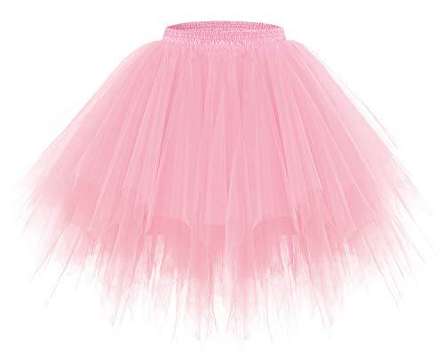 bridesmay Tutu Damenrock Tüllrock 50er Kurz Ballet Tanzkleid Unterkleid Cosplay Crinoline Petticoat für Rockabilly Kleid Light Coral S