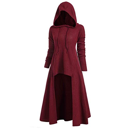 WWricotta Womens Fashion Hooded Plus Size Vintage Cloak High Low Sweater Blouse Tops (rot,XXL)
