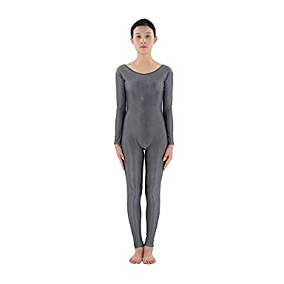 NF&E Men Women Fashionable Long Sleeves Stretchy Spandex Bodysuit Catsuit Gymnastic Dance Costume Adult Unitard Grey M