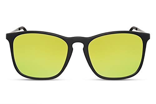 Cheapass Sonnenbrille Verspieglt Schwarz Gelb Sport Rechteckig UV-400 Männer Herren