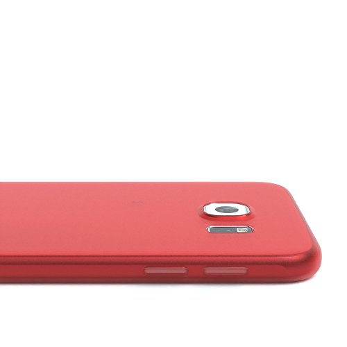 """EAZY CASE Handyhülle für Samsung Galaxy S6 Hülle - Premium Handy Schutzhülle Slimcover """"Clear"""" hochwertig und kratzfest - Transparentes Silikon Backcover in Klar / Durchsichtig Matt Rot"""